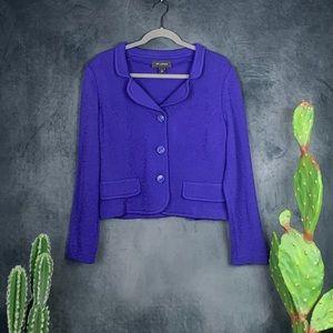 St. John Knit Purple Indigo 3 Button Blazer